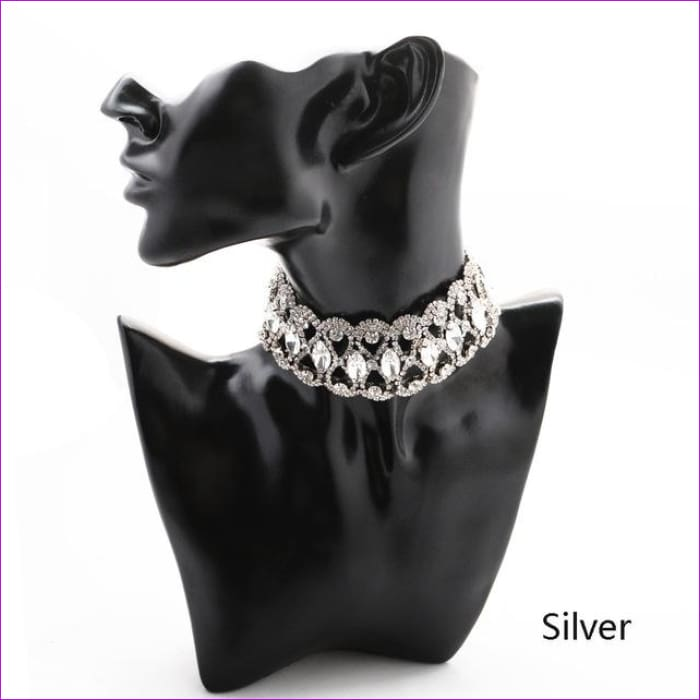 2018 Luxury Hollow Flower Crystal Rhinestone Choker Collar Women Gold Silver Chain Necklace Statement Wedding Jewelry for Party - silver -