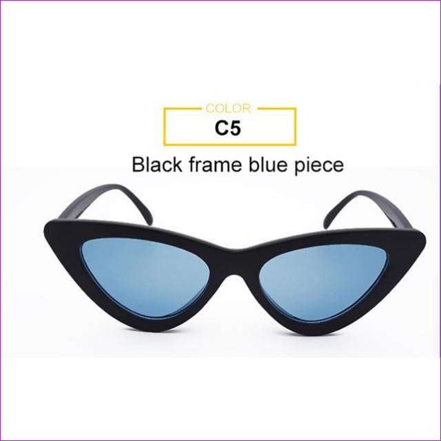 2018 Most Popular Triangle Small Cat Eye Sunglasses Women Sexy Ladies Eyewear Men Luxury Sun Glasses 9 Colour By Long Keeper - Black Blue -