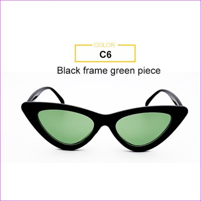 2018 Most Popular Triangle Small Cat Eye Sunglasses Women Sexy Ladies Eyewear Men Luxury Sun Glasses 9 Colour By Long Keeper - Black Green -