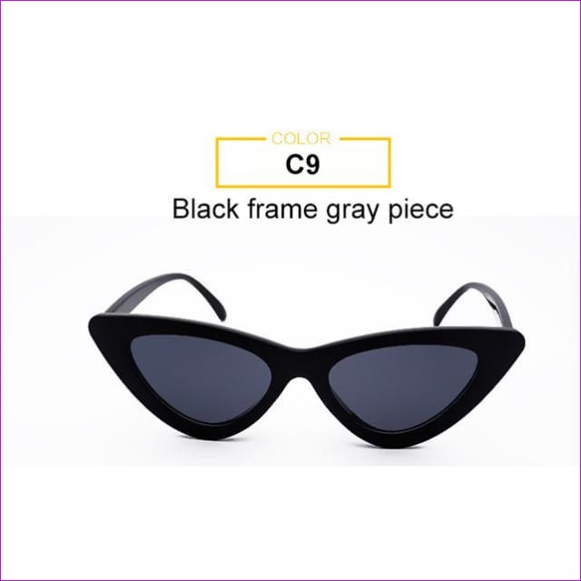 2018 Most Popular Triangle Small Cat Eye Sunglasses Women Sexy Ladies Eyewear Men Luxury Sun Glasses 9 Colour By Long Keeper - Black Grey -