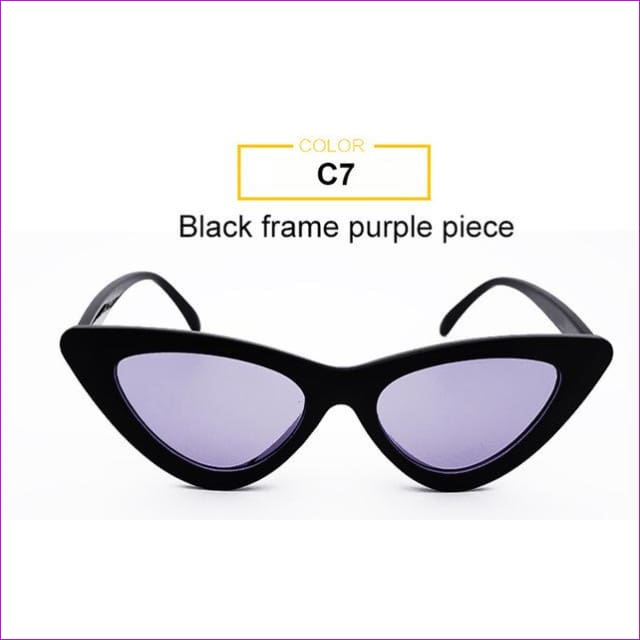 2018 Most Popular Triangle Small Cat Eye Sunglasses Women Sexy Ladies Eyewear Men Luxury Sun Glasses 9 Colour By Long Keeper - Black Purple