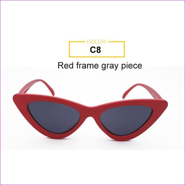 2018 Most Popular Triangle Small Cat Eye Sunglasses Women Sexy Ladies Eyewear Men Luxury Sun Glasses 9 Colour By Long Keeper - Red Grey -