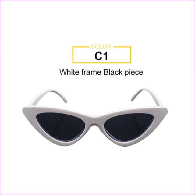2018 Most Popular Triangle Small Cat Eye Sunglasses Women Sexy Ladies Eyewear Men Luxury Sun Glasses 9 Colour By Long Keeper - White Black -