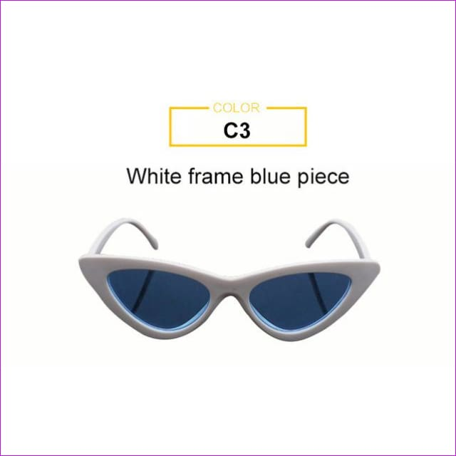 2018 Most Popular Triangle Small Cat Eye Sunglasses Women Sexy Ladies Eyewear Men Luxury Sun Glasses 9 Colour By Long Keeper - White Blue -