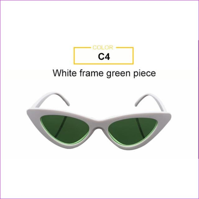 2018 Most Popular Triangle Small Cat Eye Sunglasses Women Sexy Ladies Eyewear Men Luxury Sun Glasses 9 Colour By Long Keeper - White Green -