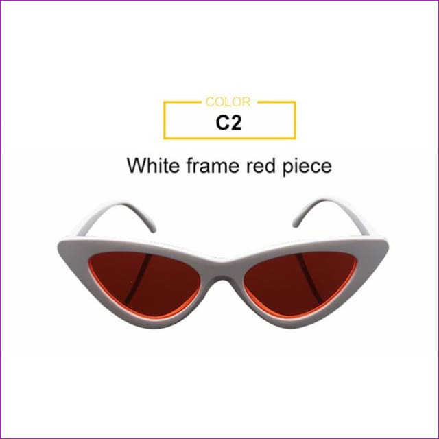 2018 Most Popular Triangle Small Cat Eye Sunglasses Women Sexy Ladies Eyewear Men Luxury Sun Glasses 9 Colour By Long Keeper - White Red -