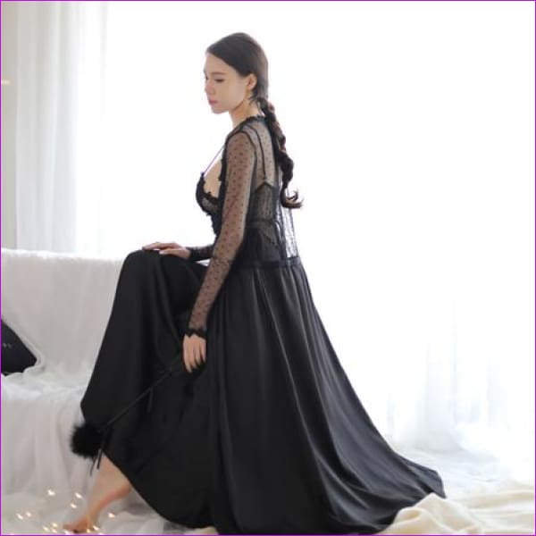 2018 new Lace Dress New Palace Exquisite Beauty Sexy Nightdress Long Lace Nightgown Women Sling skirt + Robe 2 Pieces Set - black dress robe