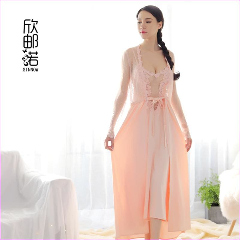 2018 new Lace Dress New Palace Exquisite Beauty Sexy Nightdress Long Lace Nightgown Women Sling skirt + Robe 2 Pieces Set - Rob & Gown sets