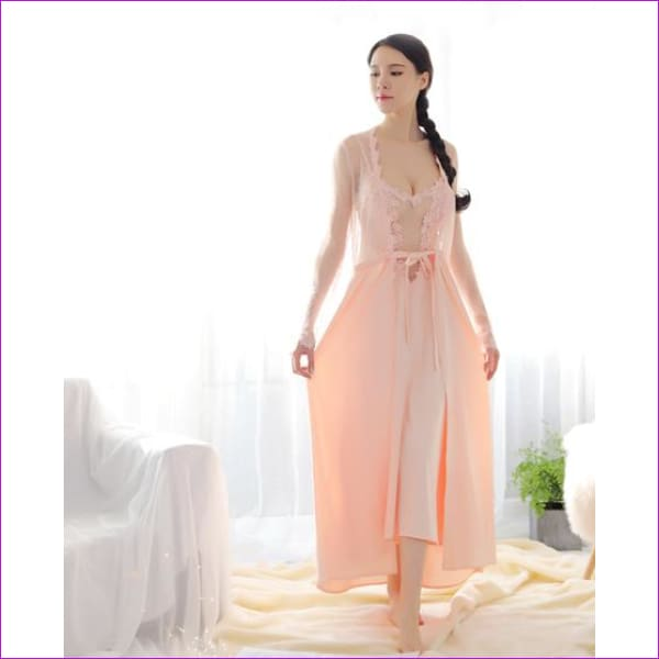 2018 new Lace Dress New Palace Exquisite Beauty Sexy Nightdress Long Lace Nightgown Women Sling skirt + Robe 2 Pieces Set - pink dress robe