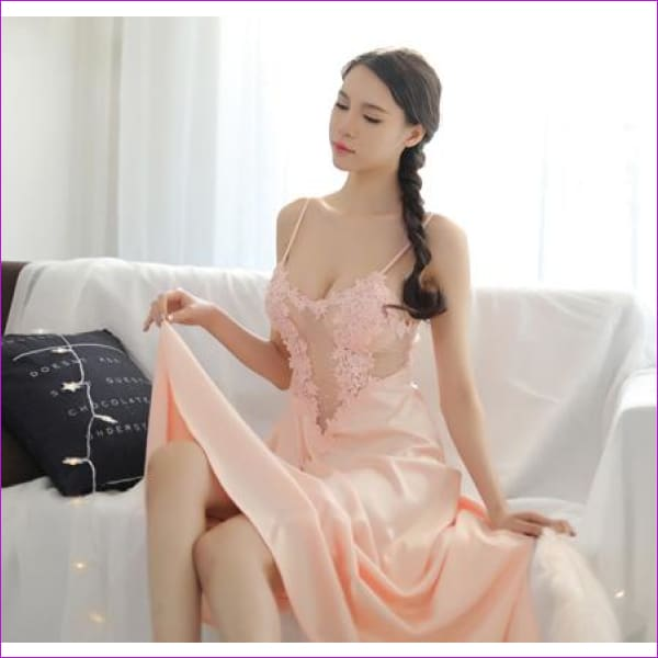 2018 new Lace Dress New Palace Exquisite Beauty Sexy Nightdress Long Lace Nightgown Women Sling skirt + Robe 2 Pieces Set - pink dress - Rob