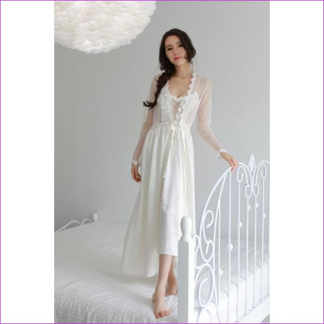2018 new Lace Dress New Palace Exquisite Beauty Sexy Nightdress Long Lace Nightgown Women Sling skirt + Robe 2 Pieces Set - white dress robe
