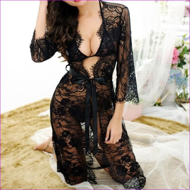 2018 Sexy Women Nightgowns & Sleepshirts Three Quarter O Neck Nightgowns Solid Full Lace Transparnet Hollow Out Dress - Black / M - Sleep