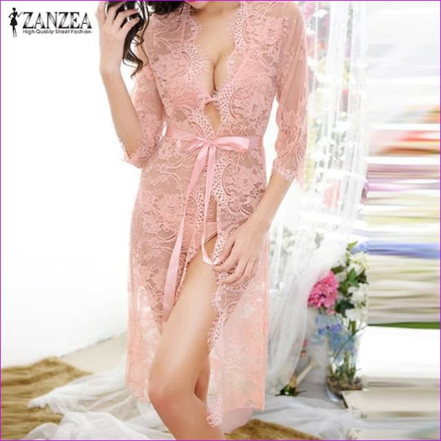 2018 Sexy Women Nightgowns & Sleepshirts Three Quarter O Neck Nightgowns Solid Full Lace Transparnet Hollow Out Dress - Pink / M - Sleep