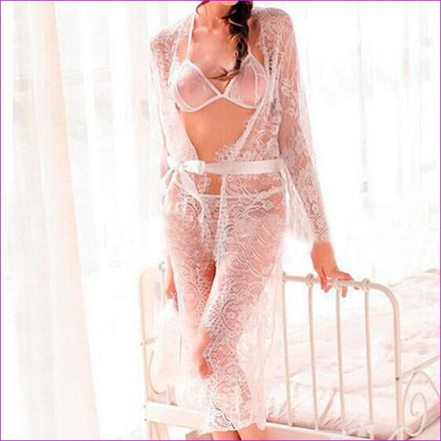 2018 Sexy Women Nightgowns & Sleepshirts Three Quarter O Neck Nightgowns Solid Full Lace Transparnet Hollow Out Dress - White / M - Sleep