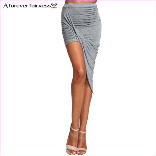 2018 Summer Women Skirt Hem Cross Fold Sexy Wrap Banded Waist Draped women skirt Cut Out Asymmetrical Pencil Skirts XS-XXXL 504 - Bottoms