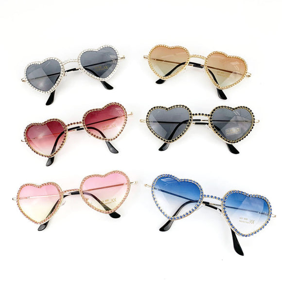 Crystal Trendy Rimless Cat Sunglasses Rhinestone Heart Shaped