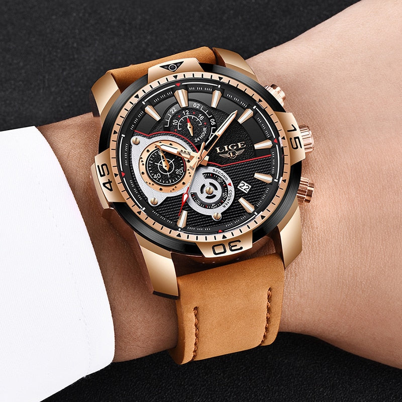 Luxury Casual Leather Quartz Clock Male Sport Waterproof Watch