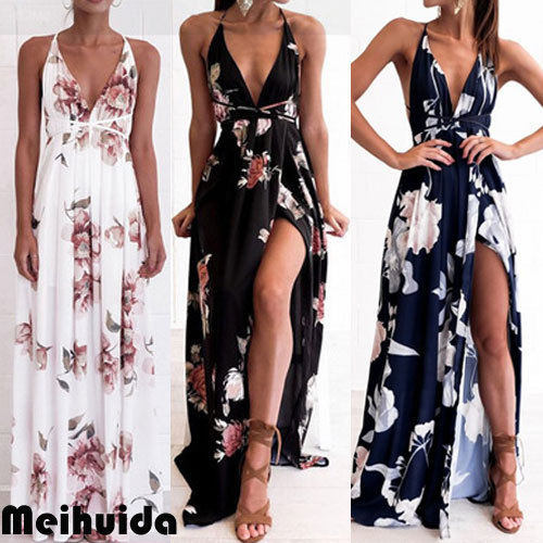 Floral Dress Chiffon Sleeveless V-neck Halter Beach Dress Cover-Ups