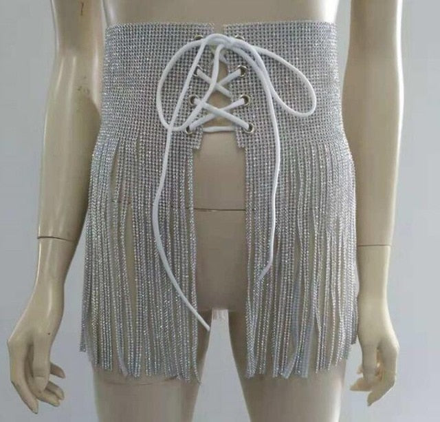 Rhinestone Crystal Wedding Belt Silver long fringe tassel Bling Belt