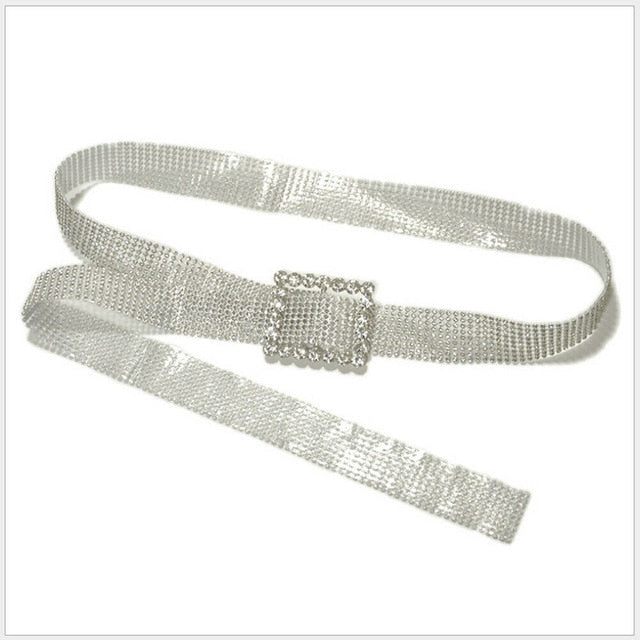 Bling Crystal Diamond Waist Belt Wide Chain Full Rhinestone Belt