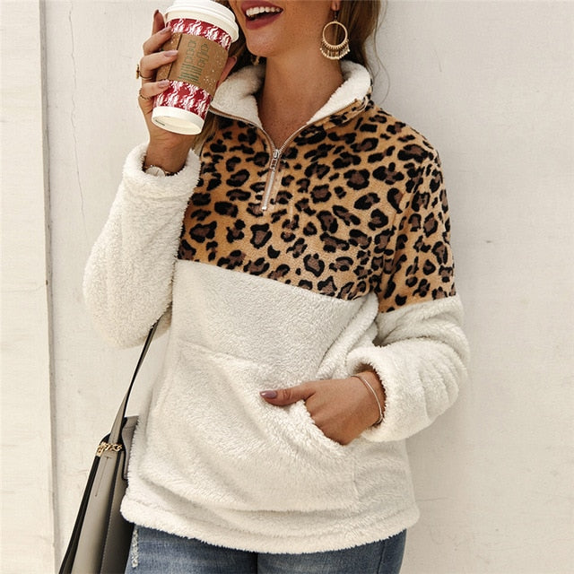 Leopard Patchwork Fluffy Thick Sweaters Warm Zipper Pullover Winter Coat