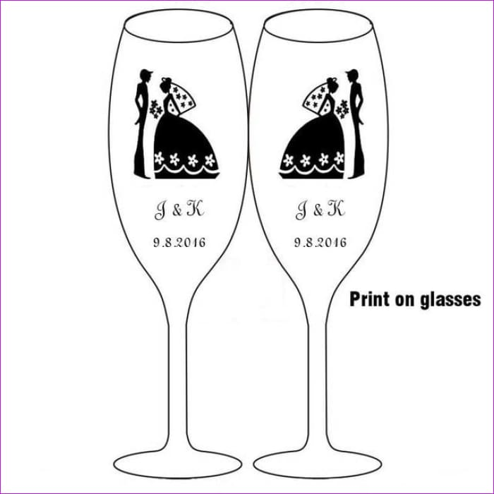 2pc Wedding Glasses Personalized Champagne Flutes Crystalline Toasting Glasses - Print on glasses - Drinkware