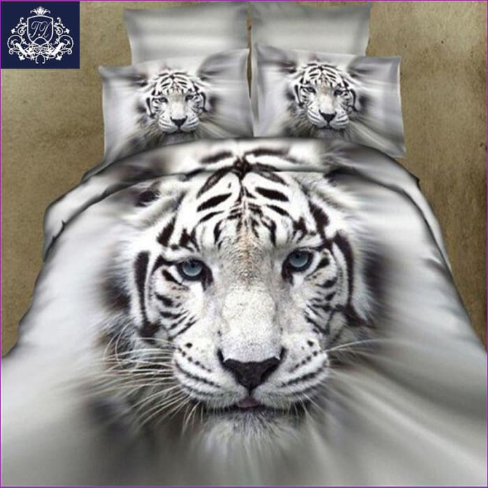 3D Animal Duvet Cover King/Queen Size Tiger White Cotton Blend Hot Sale 3D Bed Cover Bedding Sets - Home Decor cf-size-cnqueen-3pcs