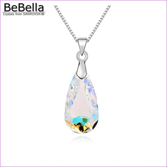 4 colors pear drop pendant necklace with bold crystal from Swarovski - Crystal AB - Pendants Pendants