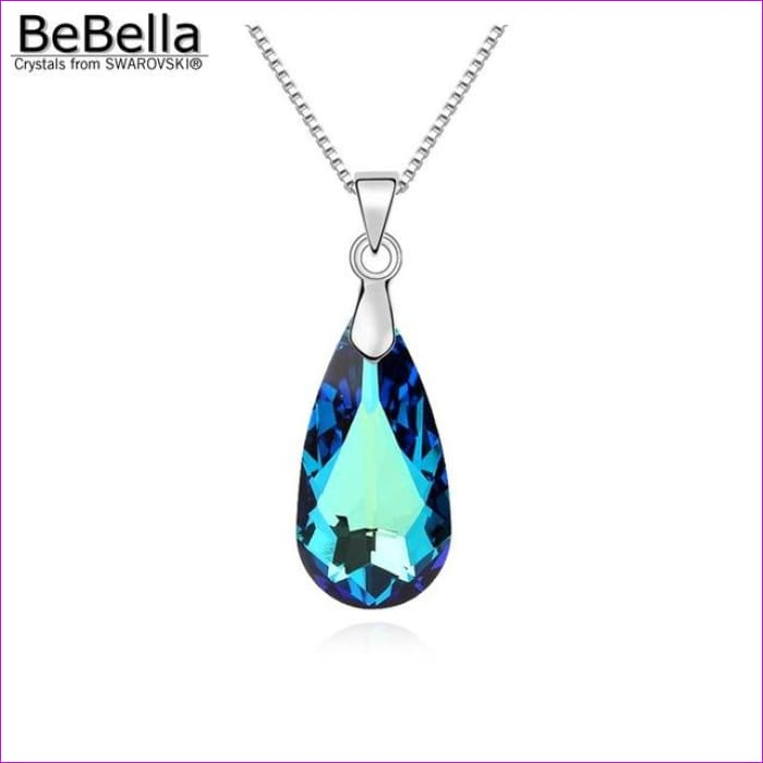 4 colors pear drop pendant necklace with bold crystal from Swarovski - Crystal BBL - Pendants Pendants