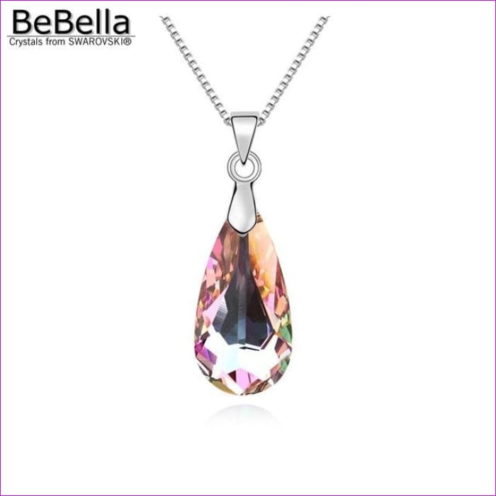 4 colors pear drop pendant necklace with bold crystal from Swarovski - Crystal VL - Pendants Pendants