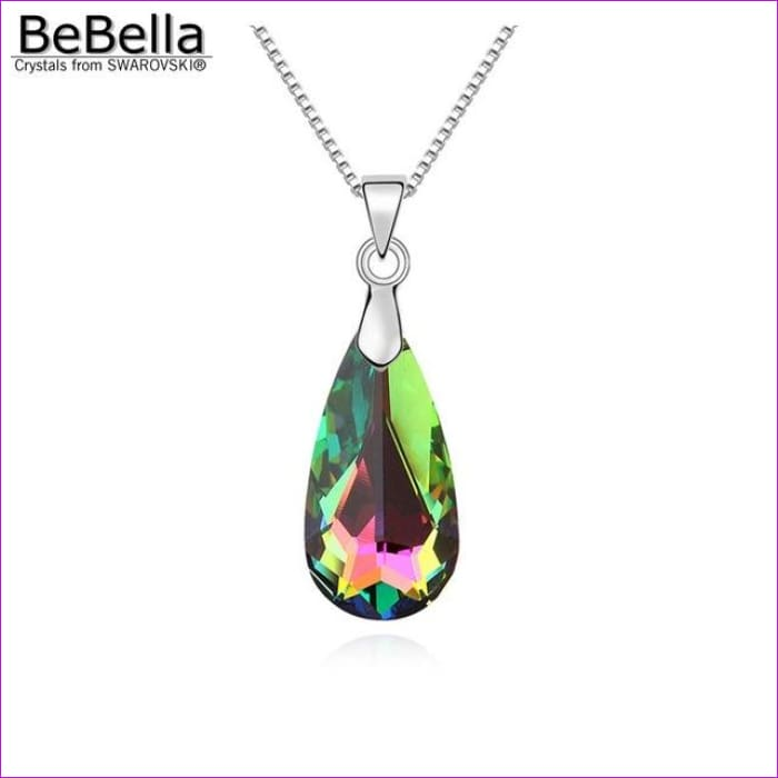 4 colors pear drop pendant necklace with bold crystal from Swarovski - Crystal VM - Pendants Pendants