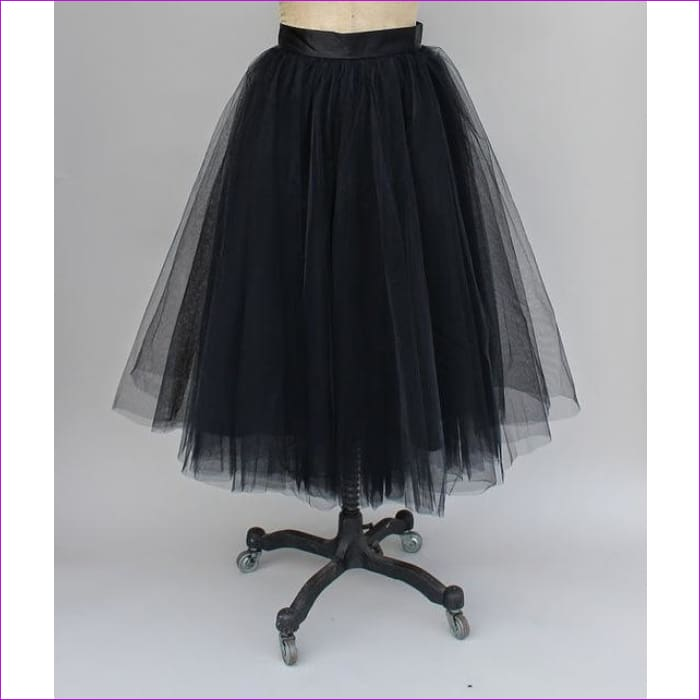 5 Layers 65cm Princess Midi Tulle Skirt Pleated Dance Tutu Skirts Womens Lolita Petticoat Jupe Saia faldas Denim Party Skirts - black / One