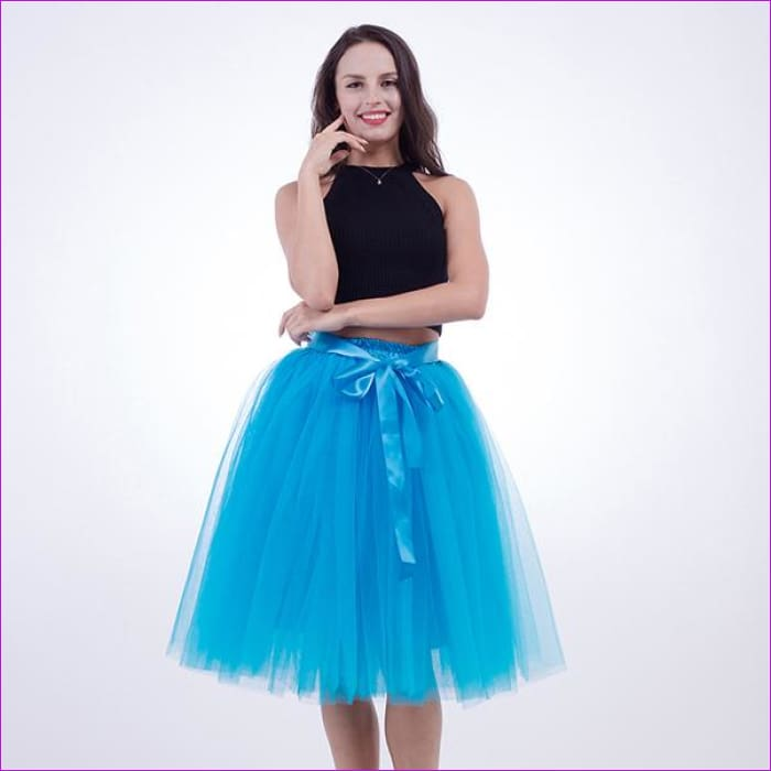 5 Layers 65cm Princess Midi Tulle Skirt Pleated Dance Tutu Skirts Womens Lolita Petticoat Jupe Saia faldas Denim Party Skirts - blue / One