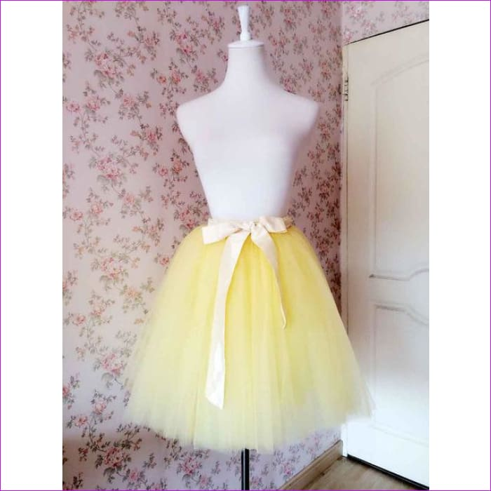 5 Layers 65cm Princess Midi Tulle Skirt Pleated Dance Tutu Skirts Womens Lolita Petticoat Jupe Saia faldas Denim Party Skirts - Skirts