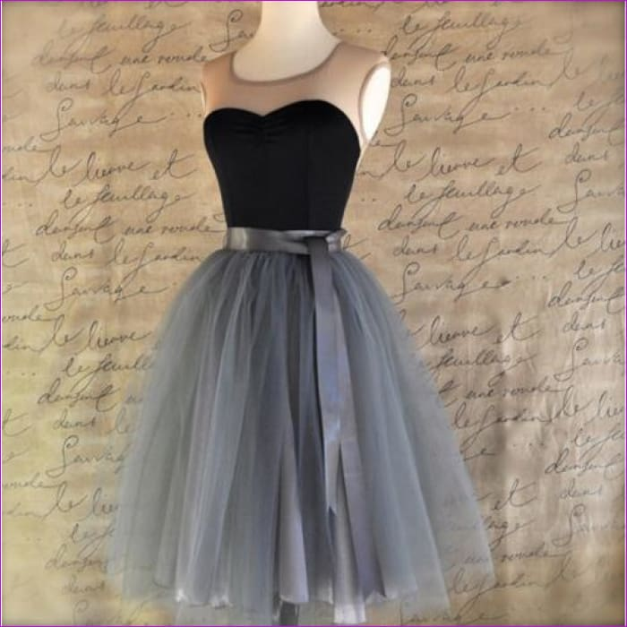 5 Layers 65cm Princess Midi Tulle Skirt Pleated Dance Tutu Skirts Womens Lolita Petticoat Jupe Saia faldas Denim Party Skirts - gray / One
