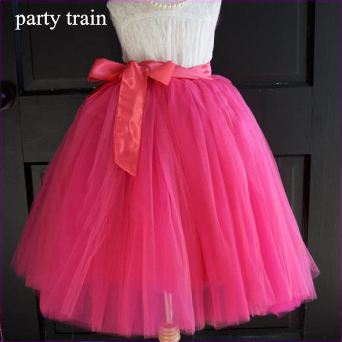 5 Layers 65cm Princess Midi Tulle Skirt Pleated Dance Tutu Skirts Womens Lolita Petticoat Jupe Saia faldas Denim Party Skirts - hot pink /