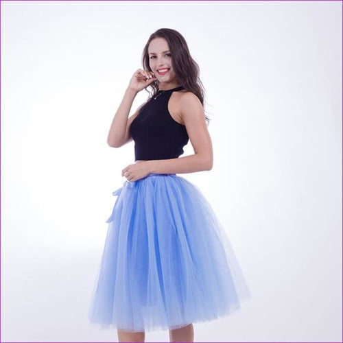 5 Layers 65cm Princess Midi Tulle Skirt Pleated Dance Tutu Skirts Womens Lolita Petticoat Jupe Saia faldas Denim Party Skirts - lake blue /