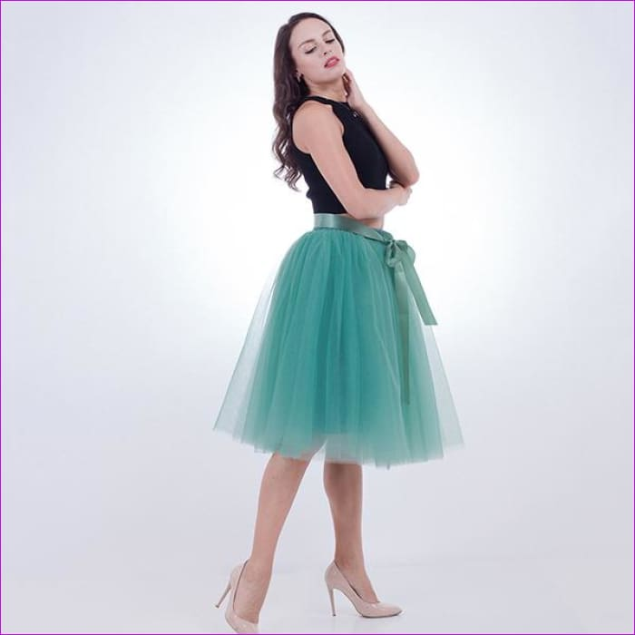 5 Layers 65cm Princess Midi Tulle Skirt Pleated Dance Tutu Skirts Womens Lolita Petticoat Jupe Saia faldas Denim Party Skirts - light green