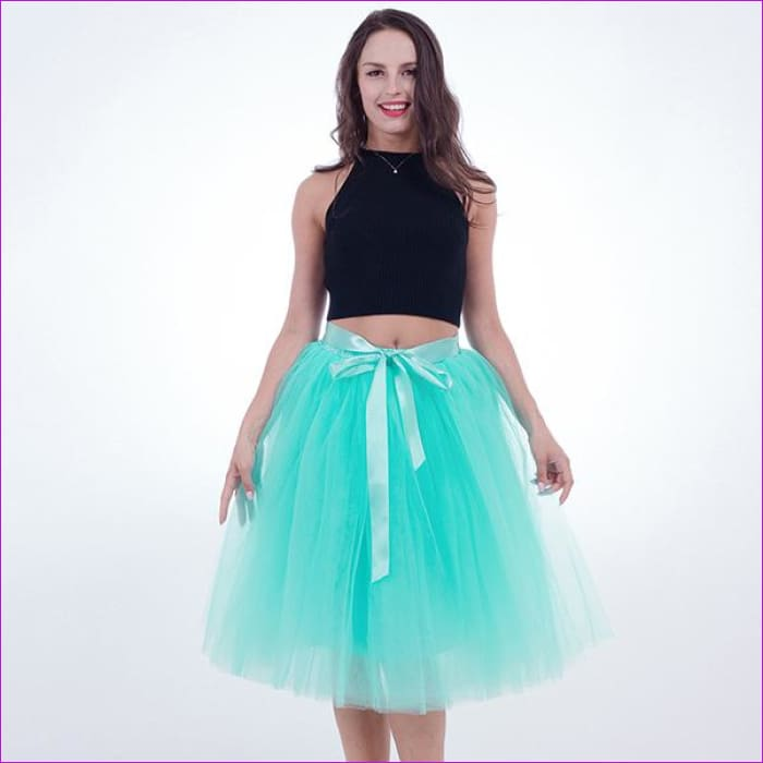 5 Layers 65cm Princess Midi Tulle Skirt Pleated Dance Tutu Skirts Womens Lolita Petticoat Jupe Saia faldas Denim Party Skirts - mint green /