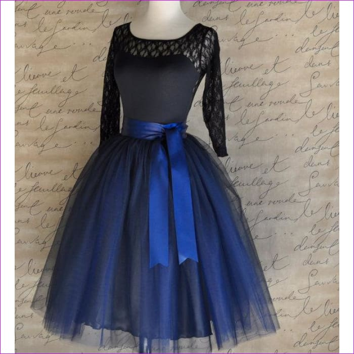 5 Layers 65cm Princess Midi Tulle Skirt Pleated Dance Tutu Skirts Womens Lolita Petticoat Jupe Saia faldas Denim Party Skirts - navy blue /