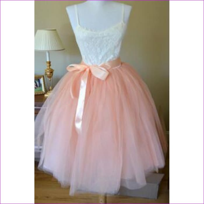 5 Layers 65cm Princess Midi Tulle Skirt Pleated Dance Tutu Skirts Womens Lolita Petticoat Jupe Saia faldas Denim Party Skirts - peach / One