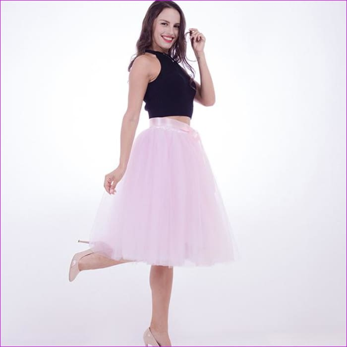 b5d699252 5 Layers 65cm Princess Midi Tulle Skirt Pleated Dance Tutu Skirts Womens  Lolita Petticoat Jupe Saia