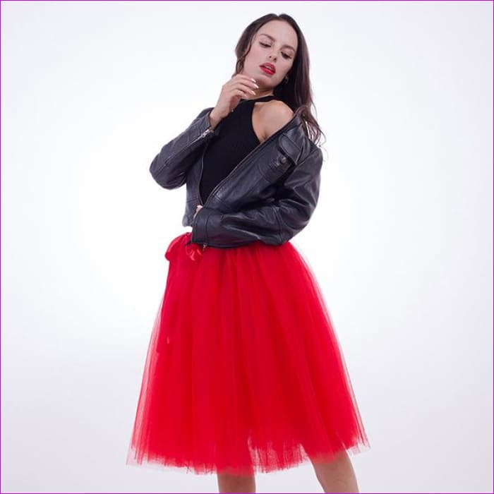5 Layers 65cm Princess Midi Tulle Skirt Pleated Dance Tutu Skirts Womens Lolita Petticoat Jupe Saia faldas Denim Party Skirts - red / One