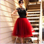 5 Layers 65cm Princess Midi Tulle Skirt Pleated Dance Tutu Skirts Womens Lolita Petticoat Jupe Saia faldas Denim Party Skirts - red wine /