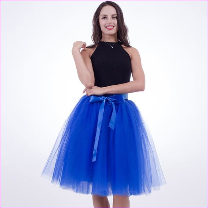 5 Layers 65cm Princess Midi Tulle Skirt Pleated Dance Tutu Skirts Womens Lolita Petticoat Jupe Saia faldas Denim Party Skirts - royal blue /
