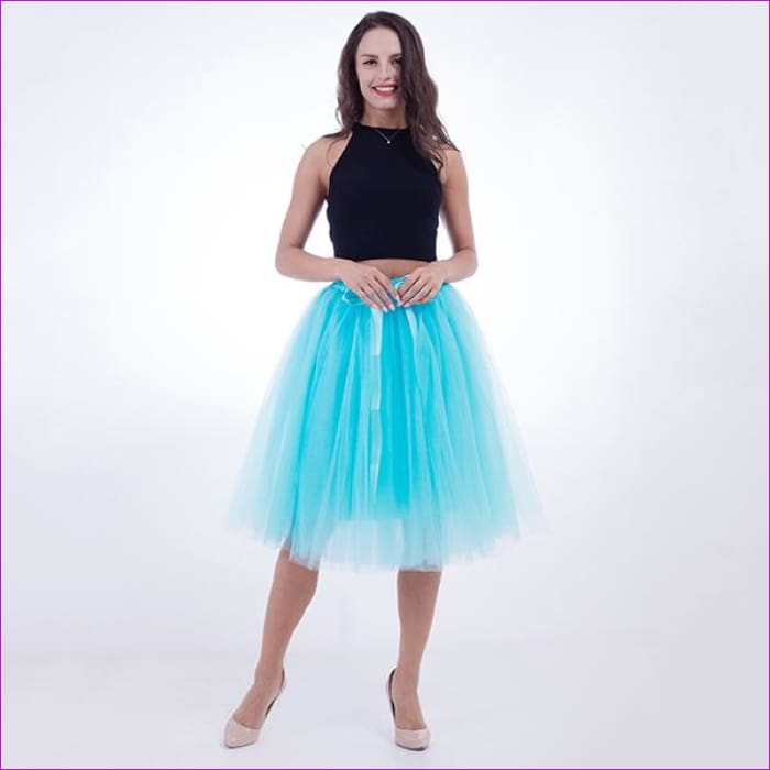 5 Layers 65cm Princess Midi Tulle Skirt Pleated Dance Tutu Skirts Womens Lolita Petticoat Jupe Saia faldas Denim Party Skirts - sky blue /