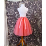 5 Layers 65cm Princess Midi Tulle Skirt Pleated Dance Tutu Skirts Womens Lolita Petticoat Jupe Saia faldas Denim Party Skirts - watermelon