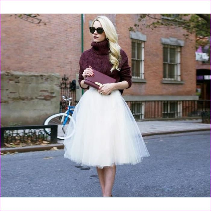 5 Layers 65cm Princess Midi Tulle Skirt Pleated Dance Tutu Skirts Womens Lolita Petticoat Jupe Saia faldas Denim Party Skirts - white / One