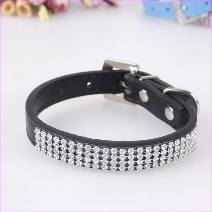 7 Color Pink Blue Rhinestones Dog Collar Sparkly Crystal Studded PU Leather Bling Pet Collars for Women Girl Small Large Dogs - black / L -