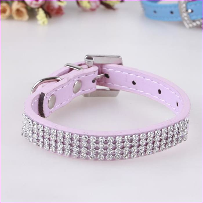 7 Color Pink Blue Rhinestones Dog Collar Sparkly Crystal Studded PU Leather Bling Pet Collars for Women Girl Small Large Dogs - pink / L -